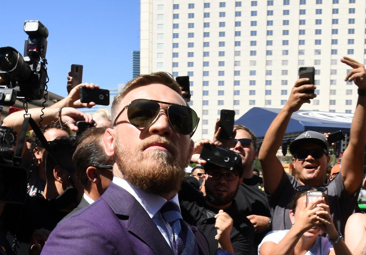 UFC lightweight champion Conor McGregor arrives at Toshiba Plaza on August 22, 2017 in Las Vegas, Nevada. McGregor will fight Floyd Mayweather Jr. in a super welterweight boxing match at T-Mobile Arena on August 26 in Las Vegas
