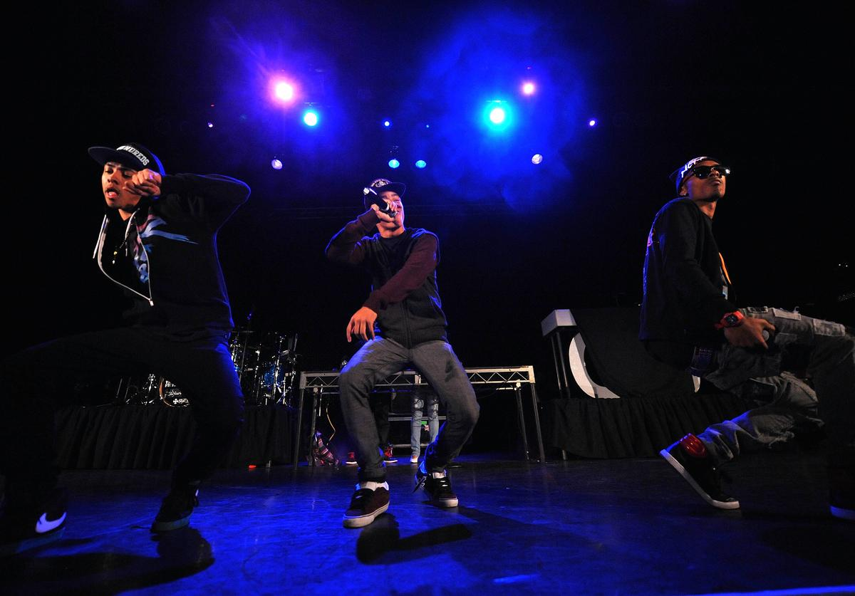 Tevin, Legacy and Ben J of the New Boyz perform on-stage during the LA leg of Chris Brown's Fan Appreciation Tour at the Avalon on November 18, 2009 in Hollywood, California