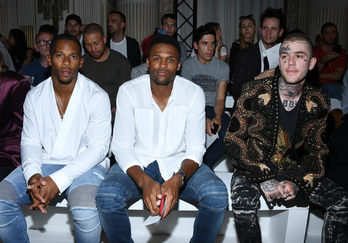 Victor Cruz,Brice Butler and Lil Peep attend the Balmain Menswear Spring/Summer 2018 show as part of Paris Fashion Week on June 24, 2017 in Paris, France