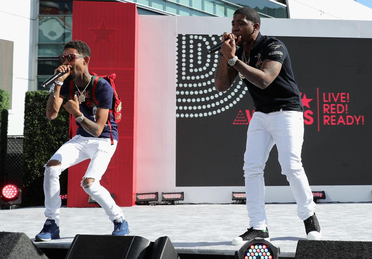 PnB Rock (L) performs onstage at Live! Red! Ready! Pre-Show at the 2017 BET Awards at Microsoft Square on June 25, 2017 in Los Angeles, California
