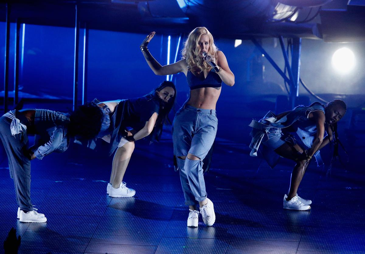 Rapper Iggy Azalea performs onstage at the iHeartRadio Music Awards which broadcasted live on TBS, TNT, AND TRUTV from The Forum on April 3, 2016 in Inglewood, California