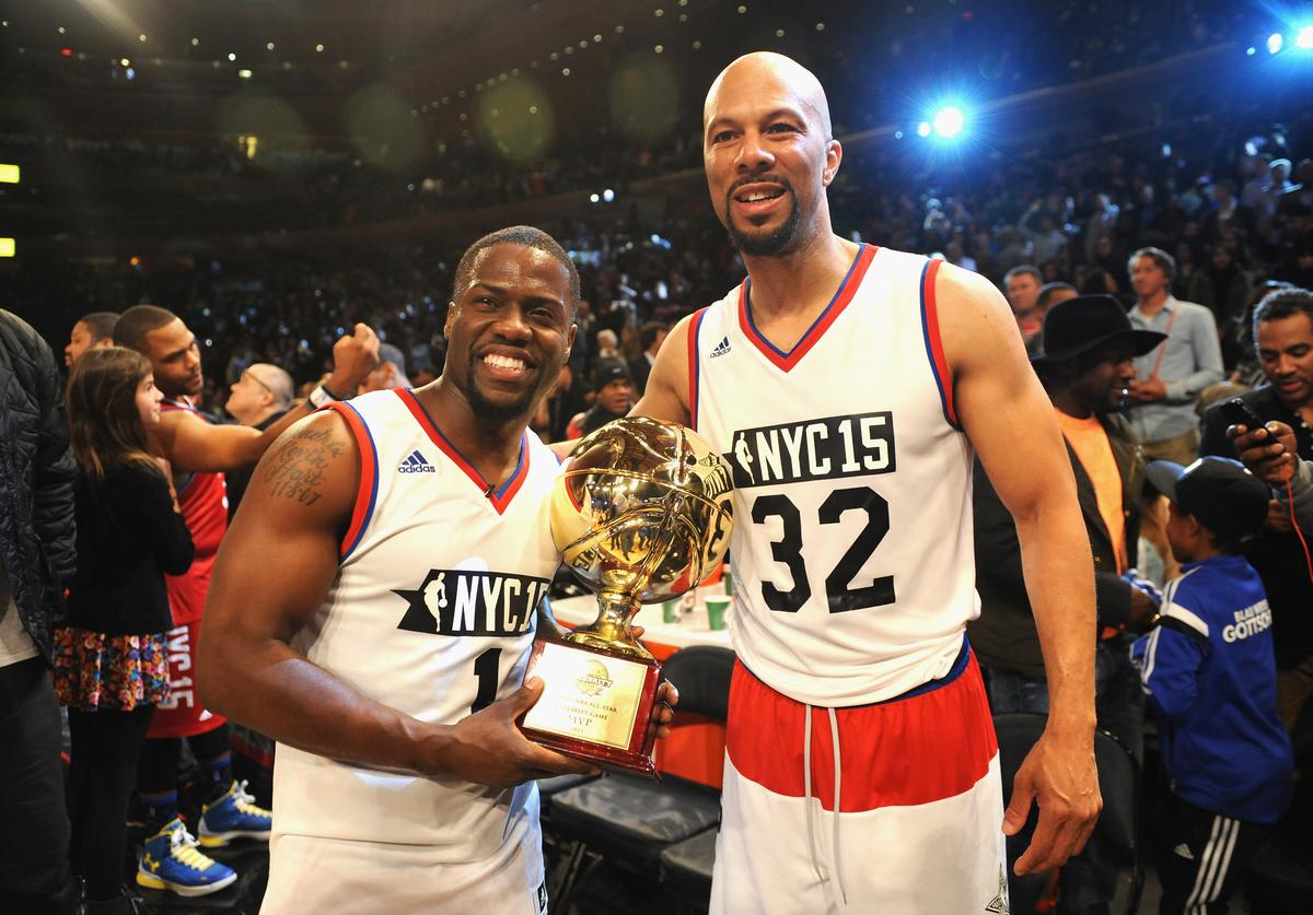 Kevin Hart, and Common attend the NBA All-Star Celebrity Game NBA All -Star Weekend 2015 on February 13, 2015 in New York City