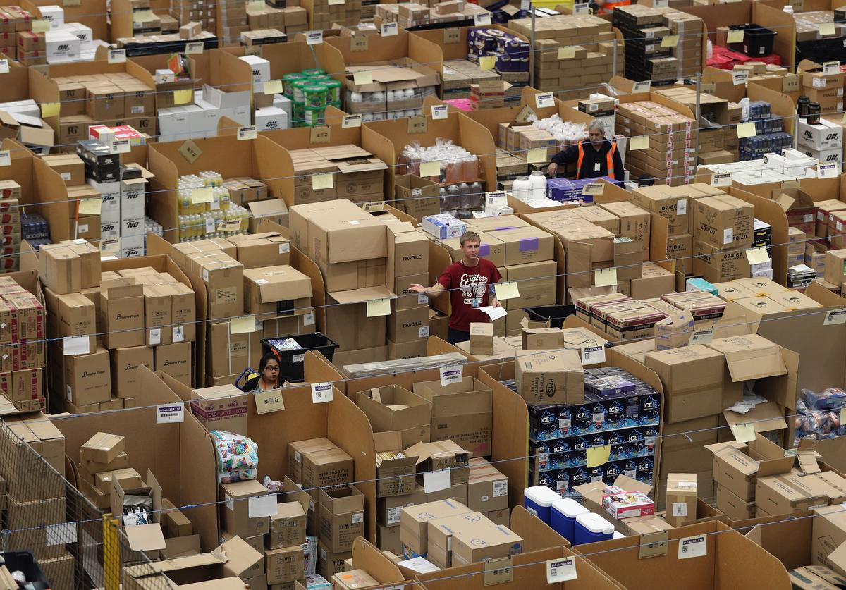 Parcels are processed and prepared for dispatch at Amazon's fulfillment centre on November 15, 2016 in Peterborough, England. In the lead up to Christmas, Amazon is experiencing the busiest time of the year