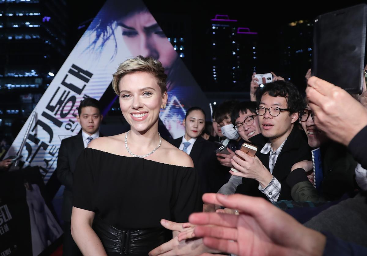 Scarlett Johansson attends the Korean Red Carpet Fan Event of the Paramount Pictures release 'Ghost In The Shell' at Lotte World Tower Mall on March 17, 2017 in Seoul, South Korea