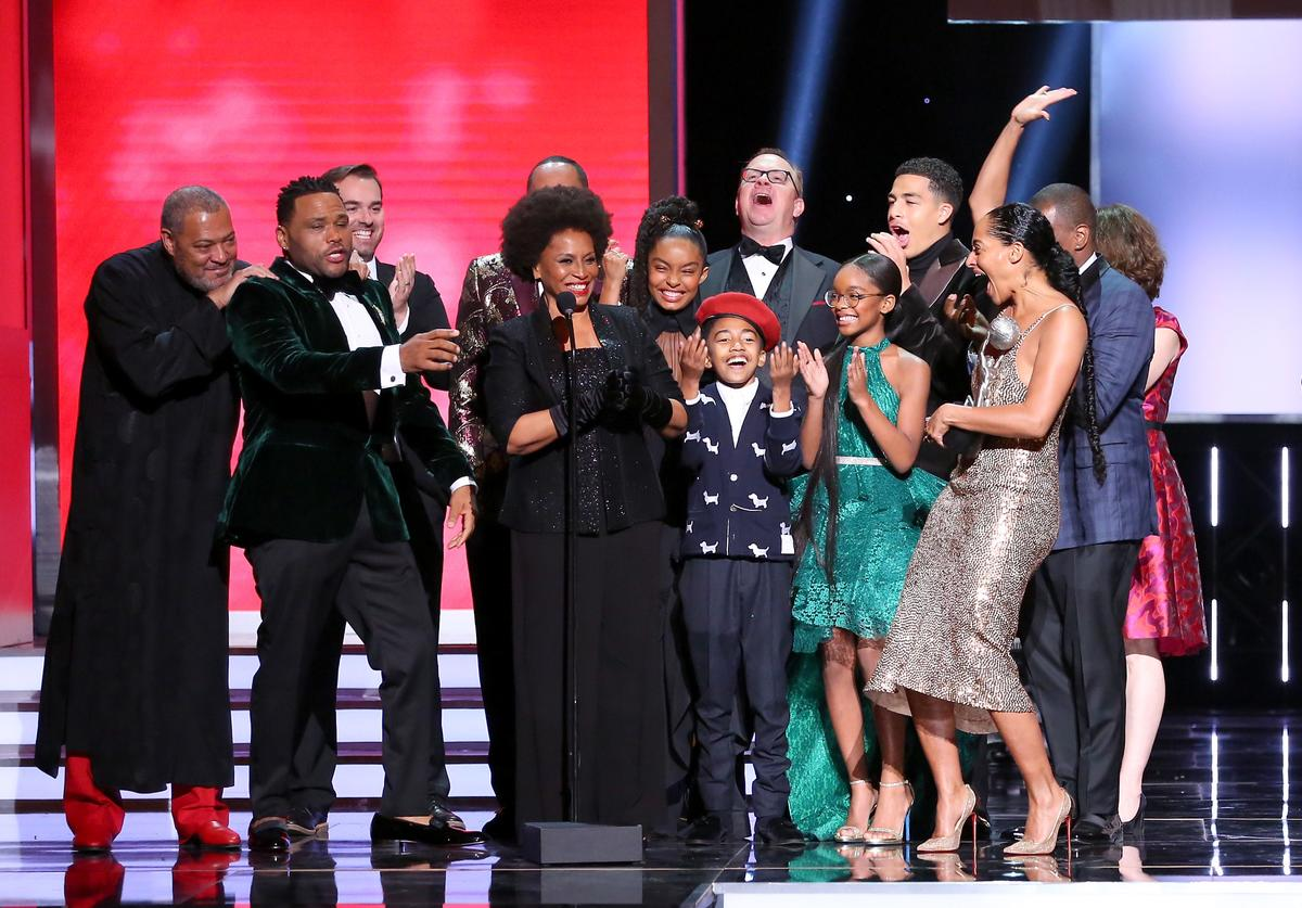 Laurence Fishburne, Anthony Anderson, Jeff Meacham, Jenifer Lewis, Yara Shahidi, Miles Brown, Peter Mackenzie, Marsai Martin, Miles Brown, and Tracee Ellis Ross accept the Outstanding Comedy Series award for 'black-ish' onstage during the 49th NAACP Image Awards at Pasadena Civic Auditorium on January 15, 2018 in Pasadena, California