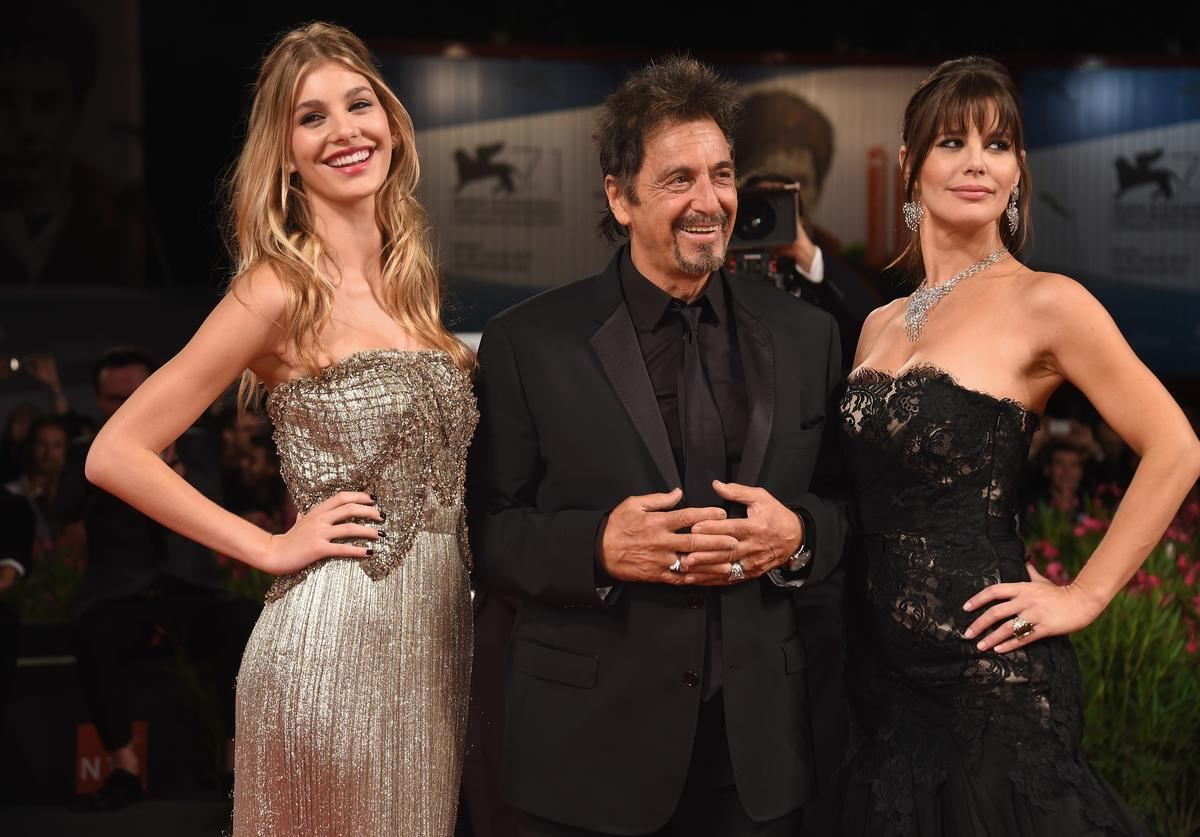 Camila Sola, actor Al Pacino wearing a Jaeger-LeCoultre watch and Lucila Sola attend the 'The Humbling' the premiere during the 71st Venice Film Festival at the Palazzo del Casino on August 30, 2014 in Venice, Italy