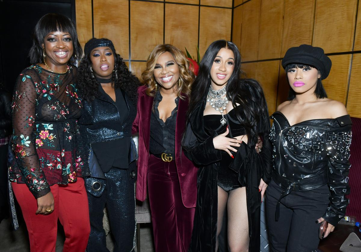 A guest, Missy Elliott, a guest, Cardi B, and Hennessy Carolina attend the Warner Music Group Pre-Grammy Party in association with V Magazine on January 25, 2018 in New York City.