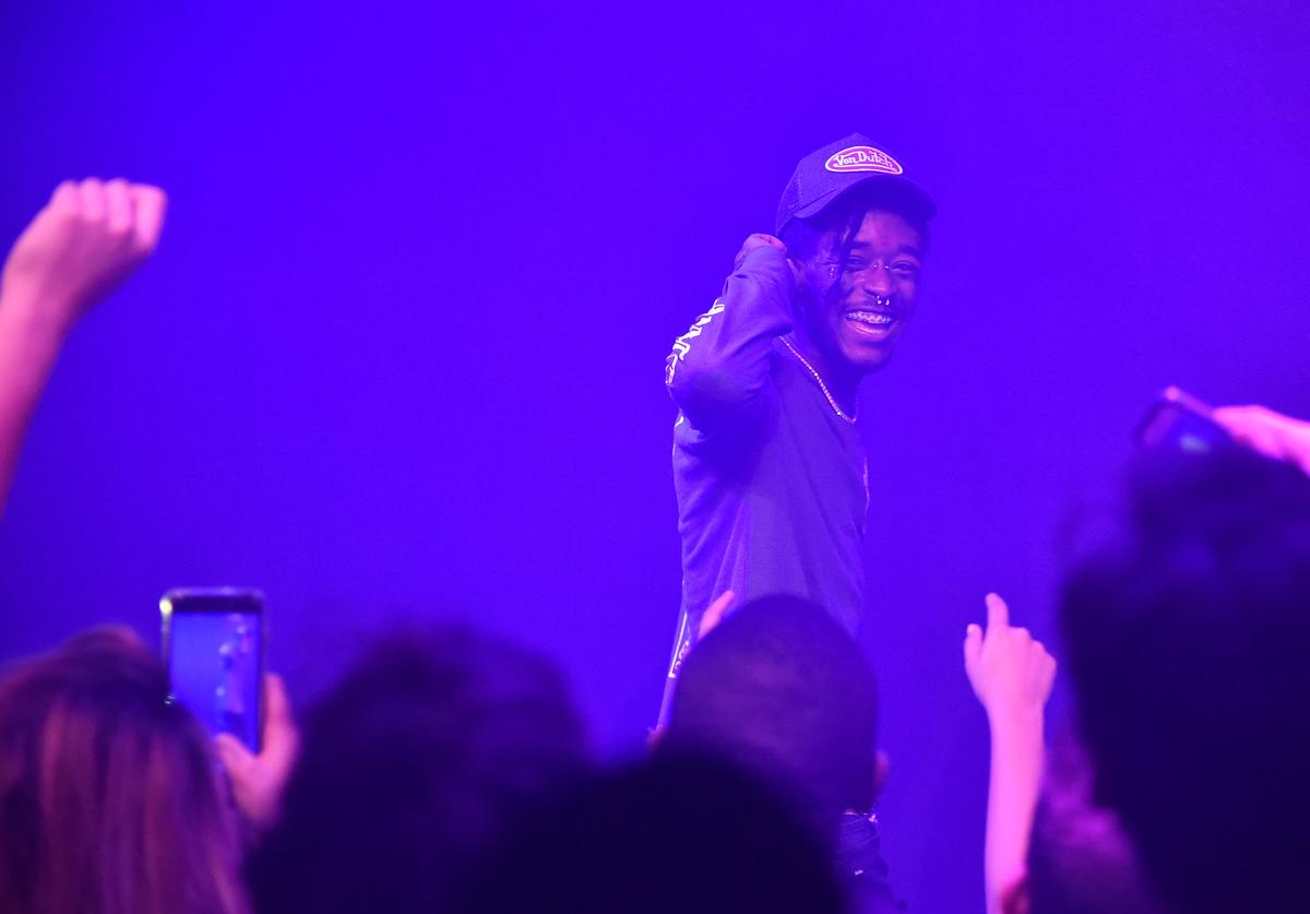 Rapper Lil Uzi Vert performs onstage during The Points Guy Presents TPG Soundtracks Pre-Grammy Party With Lil Uzi Vert on January 23, 2018 in New York City