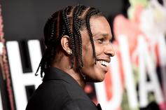 A$AP Rocky Dons Furry Glasses And Suit For Bottega Veneta Collection