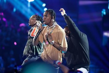 "Travis Scott, Quavo, Takeoff & A Giant Lizard Perform ""Eye 2 Eye"" On Jimmy Kimmel Live"