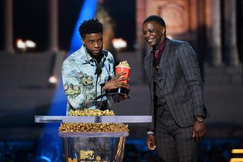 "Chadwick Boseman Gives His ""Best Hero"" MTV Movie Award Trophy To James Shaw Jr."