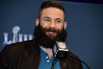 Julian Edelman Lets Ellen Shave His Playoff Beard For Charity: Video