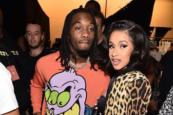"Offset Joined By Cardi B, J. Cole & Travis Scott At ""Father Of 4"" Listening Party"
