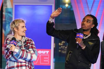 """Justin Bieber Parties With Quavo & Wife Hailey In NYC After """"SNL"""" Performance"""
