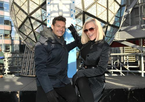 Ryan Seacrest and Jenny McCarthy attend Dick Clark's new year's rockin' eve 2018 press junket at Times Square on December 29, 2017 in New York City