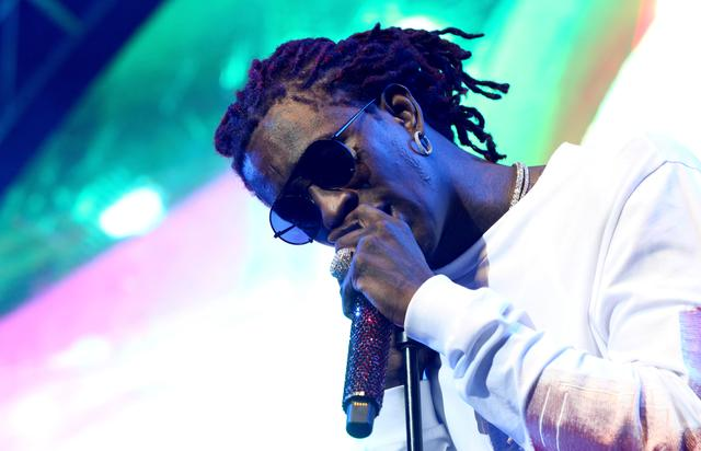 Young Thug performing at the Staples Center