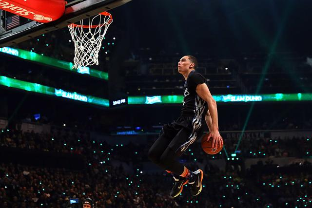 Zach LaVine #8 of the Minnesota Timberwolves competes during the Sprite Slam Dunk Contest as part of the 2015 NBA Allstar Weekend at Barclays Center on February 14, 2015 in the Brooklyn borough of New York City.