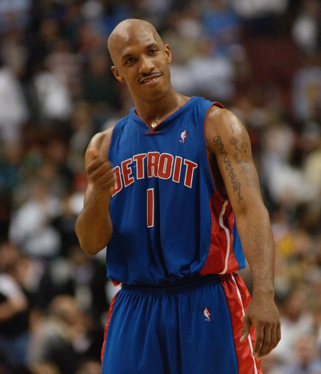 Chauncey Billups #1 of the Detroit Pistons begins to celebrate against the Philadelphia 76ers after he hit the game winning shot in the final seconds of Game six of the Eastern Conference Semifinals during the 2003 NBA Playoffs at First Union Center on May 16, 2003 in Philadelphia, Pennsylvania. The Pistons won in overtime 93-89.
