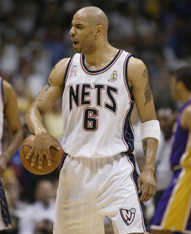 Kenyon Martin #6 of the New Jersey Nets reacts in Game four against the Los Angeles Lakers of the 2002 NBA Finals on June 12, 2002 at Continental Airlines Arena in East Rutherford, New Jersey. The Lakers won 112-106 to sweep the series and take the 2002 championship title