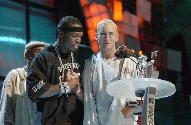 50 Cent and Eminem at 2003 MTV Video Music Awards