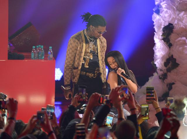 Cardi B and Offset on stage together