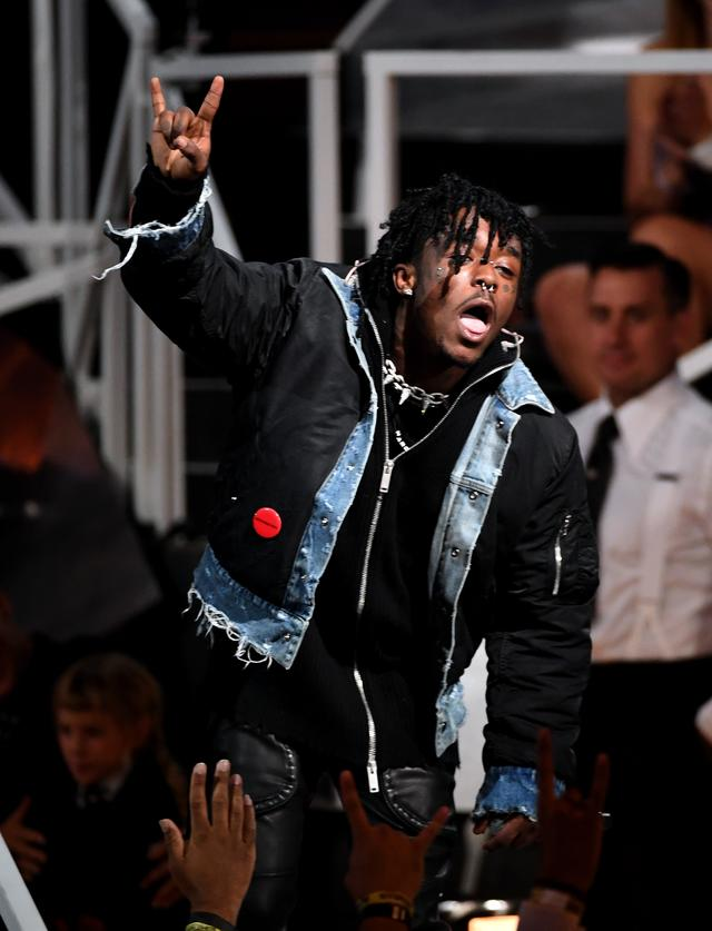 Lil Uzi Vert sticking his tongue out at MTV VMAs