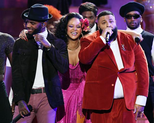 "Rihanna, DJ Khaled and Bryson Tiller perform ""Wild Thoughts"" at the Grammys"
