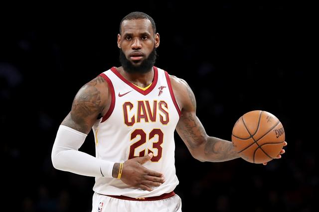 LeBron James #23 of the Cleveland Cavaliers dribbles down the court in the third quarter against the Brooklyn Nets during their game at Barclays Center on March 25, 2018 in the Brooklyn borough of New York City.