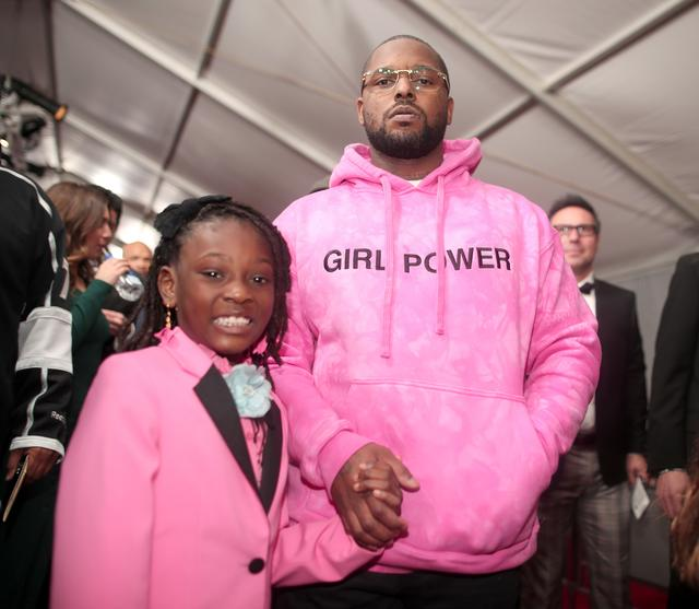 Rapper Schoolboy Q and daughter Joy Hanley attend The 59th GRAMMY Awards at STAPLES Center on February 12, 2017 in Los Angeles, California.
