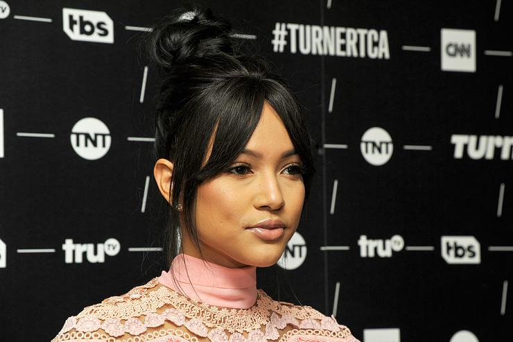 Karrueche Tran of 'Claws' poses in the green room during the TCA Turner Winter Press Tour 2017 Presentation at The Langham Resort on January 14, 2017 in Pasadena, California.