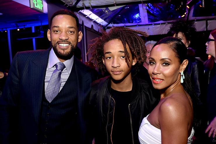 (L-R) Actors Will Smith, son Jaden Smith and his wife Jada Pinkett Smith pose at the after party for the premiere of Warner Bros. Pictures' 'Focus' at the W Hotel on February 24, 2015 in Los Angeles, California