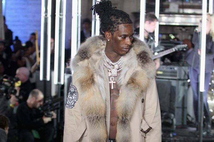 Rapper Young Thug walks the runway wearing look #39 for the Philipp Plein Fall/Winter 2017/2018 Women's And Men's Fashion Show at The New York Public Library on February 13, 2017 in New York City