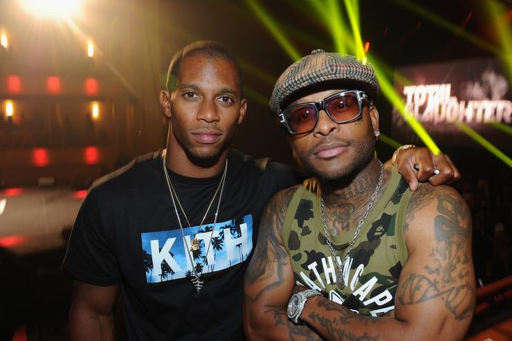 Victor Cruz and Royce da 5'9' attend the Total Slaughter, hosted by Shady Films and WatchLOUD.com at Hammerstein Ballroom on July 12, 2014 in New York City