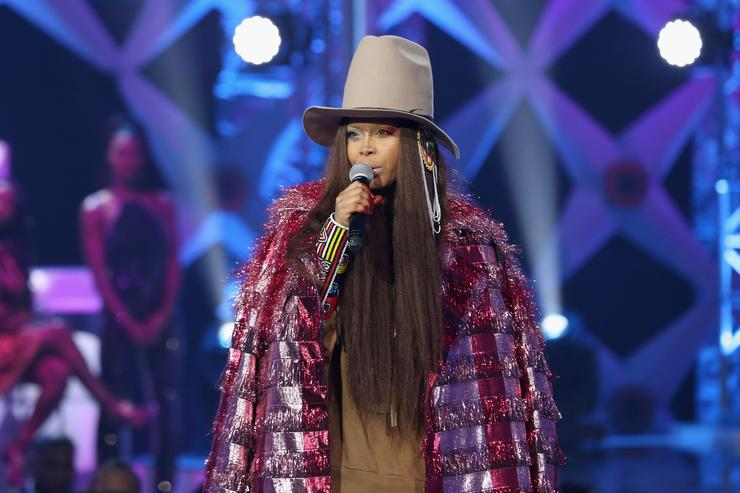 Erykah Badu speaks onstage during BET's Social Awards 2018 at Tyler Perry Studio on February 11, 2018 in Atlanta, Georgia