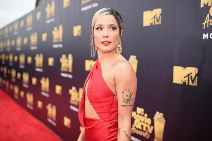 Halsey attends the 2018 MTV Movie And TV Awards at Barker Hangar on June 16, 2018 in Santa Monica, California