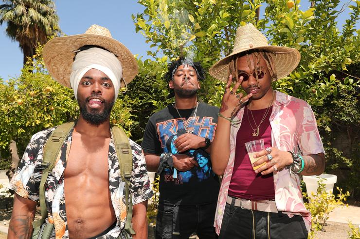 Venus, Rob Mac Film, and Doc of 'EarthGang' attend Interscope Coachella House 2018 on April 14, 2018 in Palm Springs, California.